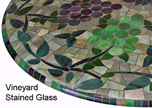(Mosaic Table Cloth Round 36 Inch To 48 Inch Elastic Edge Fitted Vinyl Table Cover Vineyard Stained Glass Pattern Brown Purple Green)