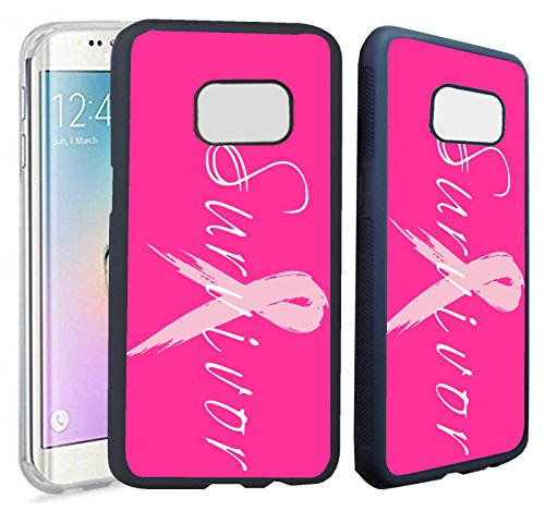 [TeleSkins] - Samsung Galaxy S7 EDGE Rubber TPU Case -Survivor Breast Cancer - Ultra Durable Slim Fit, Protective Plastic with Soft RUBBER TPU Snap On Back Case / Cover.