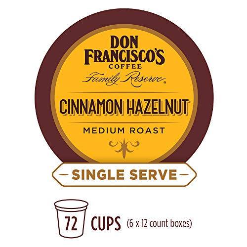 (Don Francisco's Cinnamon Hazelnut Flavored (72 Pods) Single Cup Coffee Pods, Compatible with Keurig K-Cup Machines)