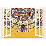 SCOCICI 3D Depth Illusion Vinyl Wall Decal Sticker/Yellow Mandala,Ukrainian Oriental Ethnicity Vintage Lace Doily Inspired Antique Pattern,Multicolor/Wall Sticker Mural