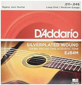 D'Addario EJ84M - Juego de cuerdas para guitarra acústica de nylon, 011' - 045' (extremo de lazo)