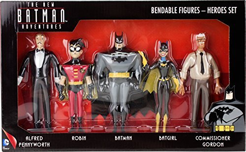 Division Figure Set (The new Batman adventures, bendable action figure heroes set, includes Batman, Alfred pennyworth, Robin, Batgirl, and commissioner gordon, actual size over 8