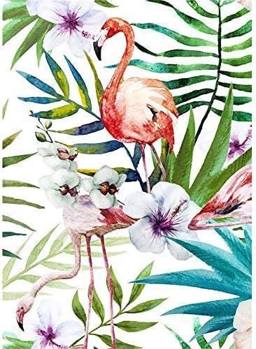 vhidfsjgdsfik (No Frame) 50x70cmBosque Tropical pequeño Lienzo Fresco Pintura Tigre Loro Flamenco Animal Imprimir Carteles Familia hogar Cuadros de Decorativos para Pared