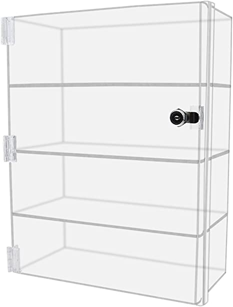 1, 12 w x 12 d x 16 h Marketing Holders Security Locking Case Bakery Pastry Cabinet Display with Lock and 2 Keys Acrylic Jewelry Show Case Stand 4 Shelf Cabinet