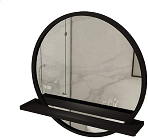 Family History Creative Bathroom Mirror Household Bathroom Bathroom Mirror With Shelf Metal Iron Art Hanging Mirror Wall Mirror Round Mirror Makeup Mirror Dressing Mirror Black 50cm Amazon Co Uk Kitchen Home