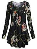 SeSe Code Casual Shirts for Women, Scoop Neck Button-up Long Sleeve Loose Fit Floral Dressy Blouses Flared Casual Relaxed Fit Oversized Tunic Tops M Black-2