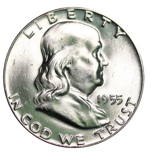 Franklin Half Dollar Silver Coin - 1955 P Silver Franklin Half Dollar 50c Brilliant Uncirculated