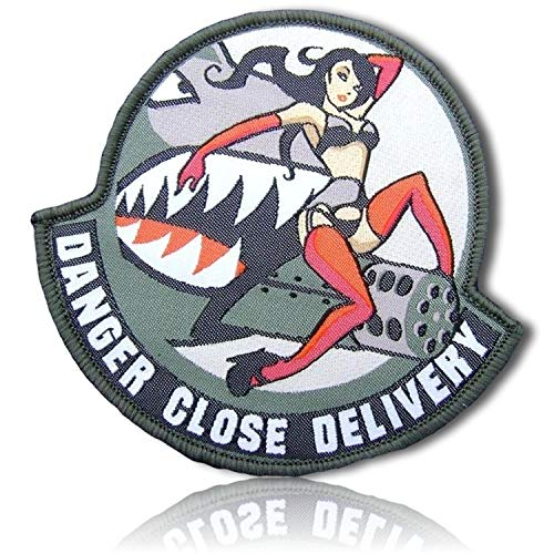 Pilot Name Patches - Danger Close Delivery Sexy Pinup Girl Riding Shark Mouth Open Like Sharp Pointy Teeth A-10 Plane Flight Flying US Pilot Hook & Loop Fastener Patch [ 3.7