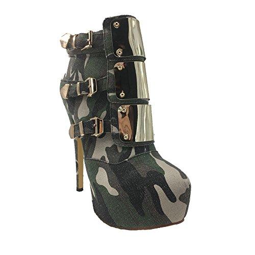 zipper 5 5 US Platform Boots Size Sky Lace MERUMOTE Straps Round 12 Rivets Toe Short Women's High Heel Army Ankle green ZwTqFRx