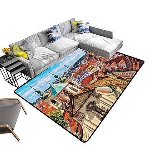 (European Cityscape Decor Collection Anti-Static Area Rugs Scenic Summer View of The Old Town Prague with Bright Sky Europe Heritage Art Deco Soft Area Rugs 6'6