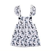 yannzi Baby Girls Dinosaur Dress Clothes Ruffle Sleeve Tutu Skirt Backless Sundress Birthday Party Princess Formal Outfit (White, tag: 80/6-12 Months)