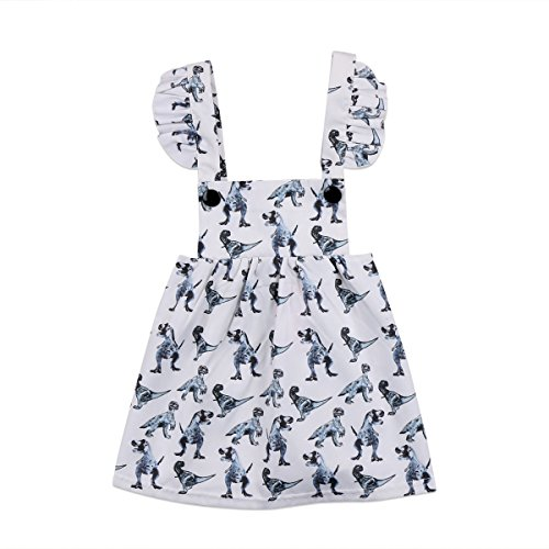 (yannzi Baby Girls Dinosaur Dress Clothes Ruffle Sleeve Tutu Skirt Backless Sundress Birthday Party Princess Formal Outfit (White, Tag: 70/0-6)