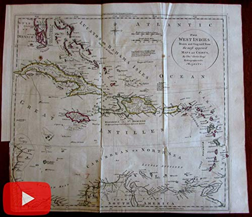 West Indies Caribbean 1781 by Kitchin Buccaneer Island Pirates in Spanish Main -