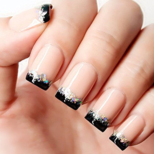 YUNAI French Fake Nail Nude Nails with Black and Glitter Top Artificail Nails for Daily Wear Medium-Long Size Nails (Black And White French Tip Nail Designs)