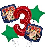 WWE Balloon Bouquet 3rd Birthday 5 pcs - Party Supplies