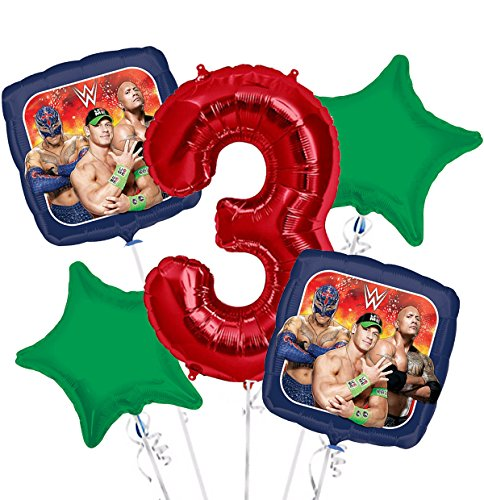 WWE Balloon Bouquet 3rd Birthday 5 pcs - Party Supplies by Viva Party