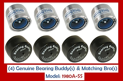 (4) 1.980 Boat Trailer Genuine Bearing Buddy Stainless Steel with Protective Bra & Auto Check Wheel Center Caps 1980A-SS 42204 (2 Pairs)