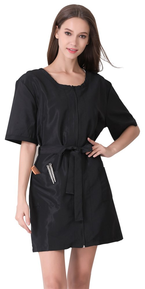Hair Stylist Grooming Smock for Women, Black Apparel for Barber, Dog Groomers, Nail Tech, Massage Therapist-Large Size