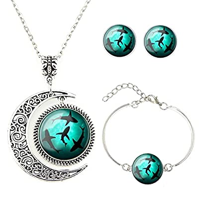 Moon pendant Circling Sharks necklace whale jewelry Shark pendant Best friend Necklace Bracelet Earrings jewelry Set gift for BFF