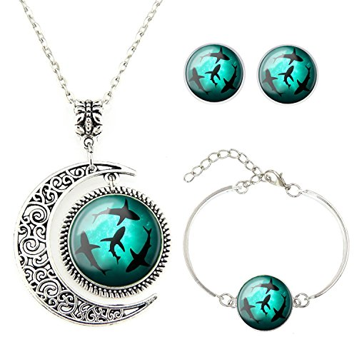Moon Pendant Circling Shark Jewelry Set: Gifts for shark lovers