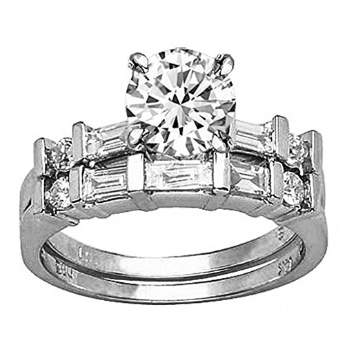 2.72 Ctw Platinum Channel Set Baguette And Round Diamond Wedding Set (J Color I1 Clarity 2 Ct Round Cut ()