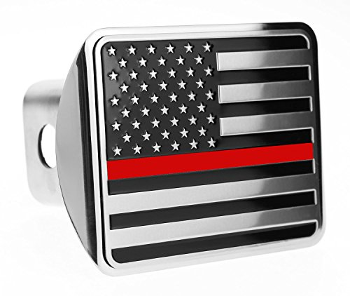 (eVerHITCH USA US American Flag Stainless Steel Emblem on Metal Trailer Hitch Cover (Fits 2