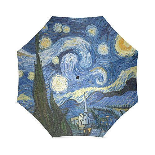 The Starry Night by Vincent Van Gogh Folding Windproof outdoor Travel Umbrella for Women