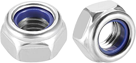 Plain Finish 304 Stainless Steel uxcell M6 x 1mm Nylon Insert Hex Lock Nuts Pack of 50