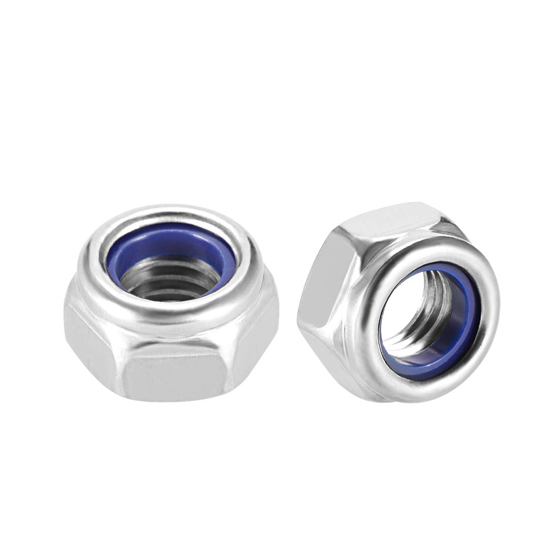 304 Stainless Steel Plain Finish uxcell M12 x 1.75mm Nylon Insert Hex Lock Nuts Pack of 6