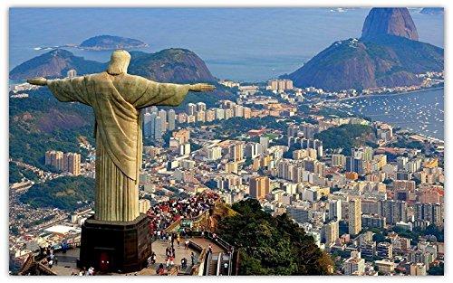 rio-de-janeiro-brazil-mountains-statue-christ-sea-bay travel sites Postcard Post card ()