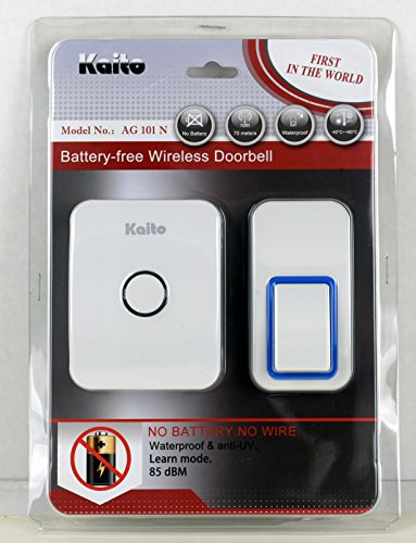 Kaito Wireless Doorbell No Battery Needed for both receiver and transmitter, Battery Free Door Chime with 25 Ring Tones, Waterproof, Synchronize and Work in Pairs, Easy Setup (Kaito Set)