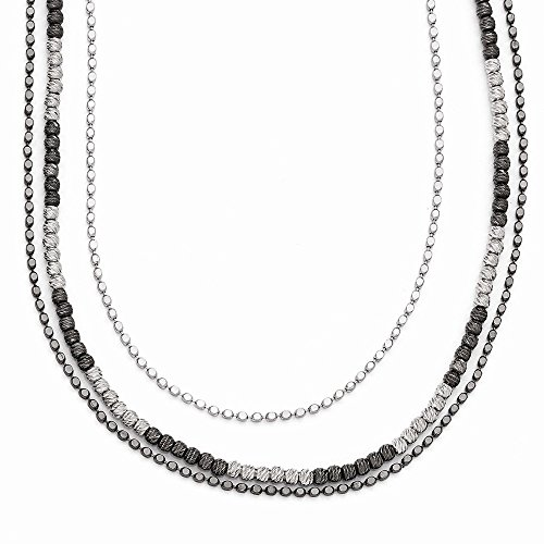 - Two Tone Triple Strand Bead Necklace in Sterling Silver, 18-20 Inch