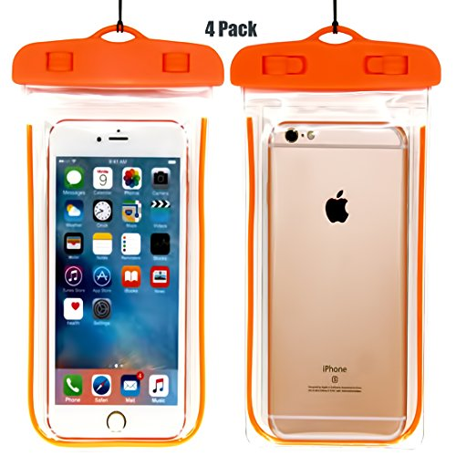 ((4Pack) Universal Waterproof Case, CaseHQ Cellphone Dry Bag Pouch for iPhone 7 6s 6 Plus, SE 5s 5c 5, Galaxy s8 s7 s6 edge, Note 5 4,LG G6 G5,HTC 10,Sony Nokia up to 6.0