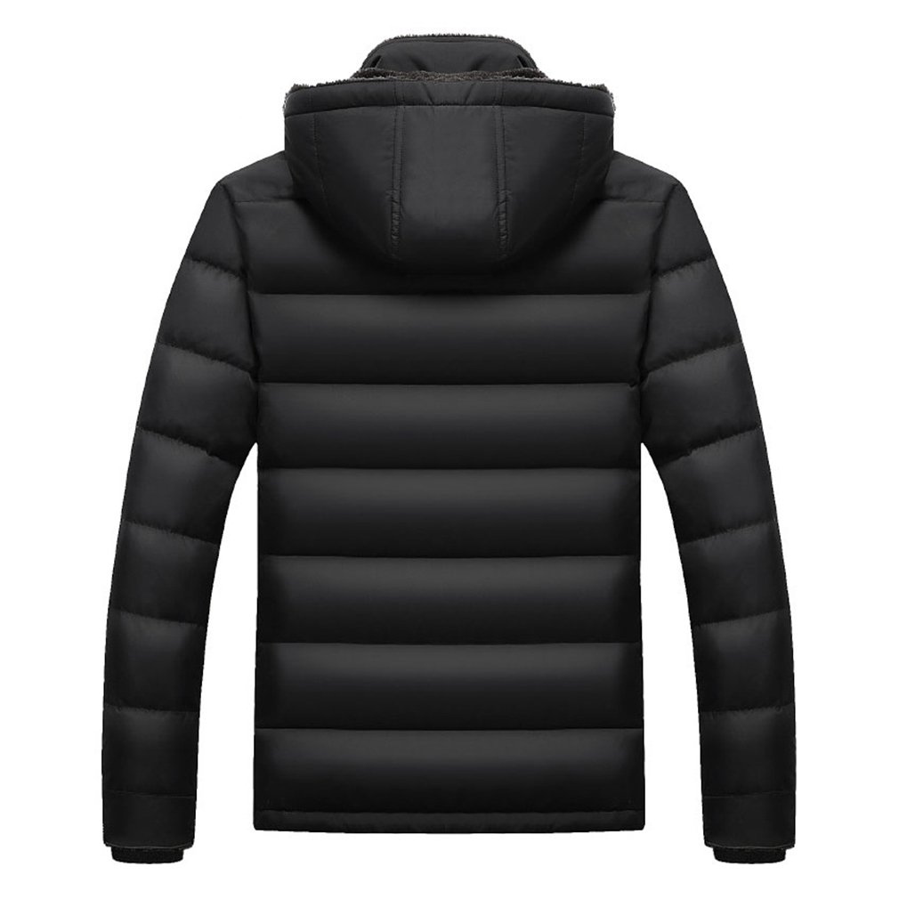 PHerMAN Men's Waterproof Fleece Ski Jacket Windproof Down Coat Puffer Jacket with Removable Hood (US XL/Tag 4XL, Black) by PHerMAN (Image #2)