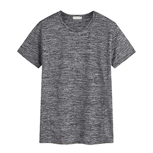 (Fastbot Big Sale! Men's New Solid Color Large Size Outdoor Sports Breathable and Quick-Drying Slim Shirt Gray)