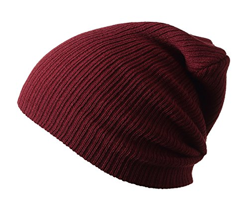 Winter Hats Knitted Slouchy Warm Beanie Caps Unisex Classic Solid Color Hat (Maroon) (Maroon Classic Hat)