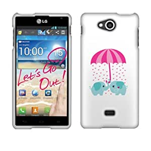 Fincibo (TM) Protector Cover Case Snap On Hard Plastic Front And Back For LG Spirit 4G MS870 - Raining Love