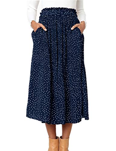(Naggoo Women's Polka Dot Skirt High Waist Flared Swing Pleated Skirts Summer Beach Skirt Dark Blue,S)