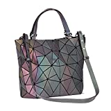 Geometric Luminesk Purses Handbags Large Tote Gift for Women Holographic Top-Handle with Zipper Closure Messenger Satchel Bags (Medium Handbags)
