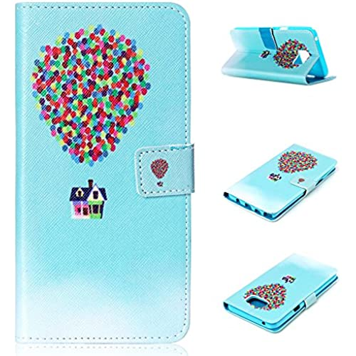 Galaxy S7 Edge Case, S7 Edge Case, AMCHOICE(TM) (House with Balloons) PU Leather Flip Wallet Case with Stand For Samsung Galaxy S7 Edge (Free Sales