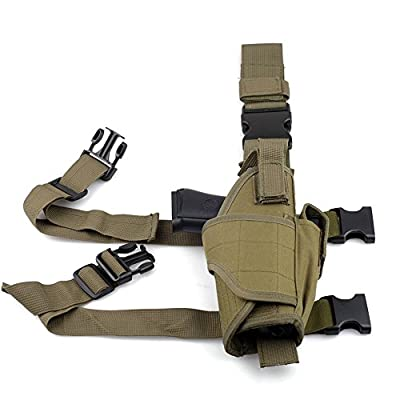 aokur Tactical Pistol Leg Holster, Adjustable Airsoft Gun Drop Thigh Holster, Military Harness Pouch, Left and Right Handed Set, Black