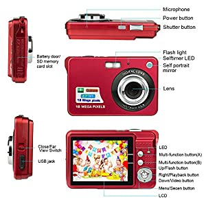 HD Mini Digital Camera with 2.7 Inch TFT LCD Display, Digital Video Camera Sports, Travel, Outdoor, Camping, Birthday Gift from Molylove