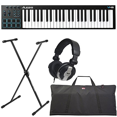 Alesis V49 | 49-Key USB MIDI Keyboard & Drum Pad Controller (8 Pads / 4 Knobs / 4 Buttons) + Keyboard Bag + Keyboard Stand + Headphones – Top Value Bundle!!