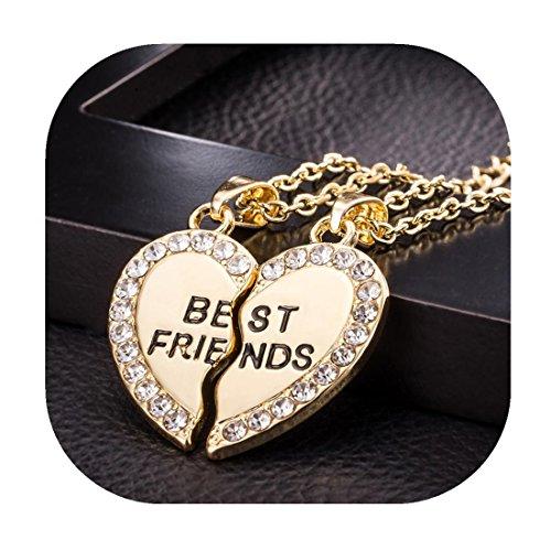 Molyveva Forever Best Friend Necklaces Split Pewter CZ Pendant Necklace for Men Women Teen Friendship (Gold)