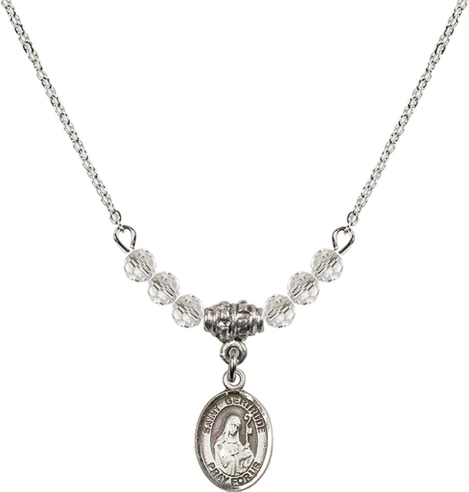 18-Inch Rhodium Plated Necklace with 4mm Crystal Birthstone Beads and Sterling Silver Saint Gertrude of Nivelles Charm.