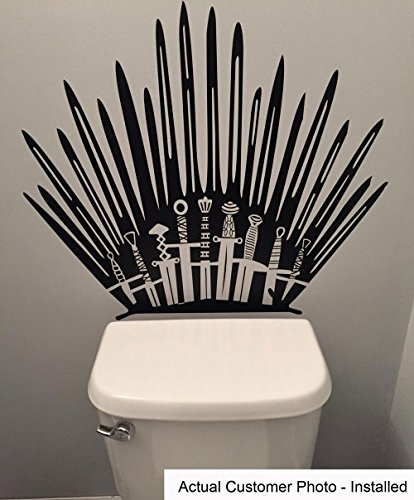 Game of Throne Parody Inspired Toilet Decal Iron Throne Toilet Decal Sticker- Iron Throne Behind Toilet On Bathroom Wall by Shop Simply Perfect