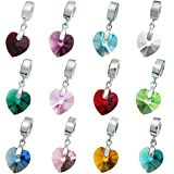 925 Sterling Silver Birthday Heart Dangle European Bead Charm using Swarovski Elements Crystal