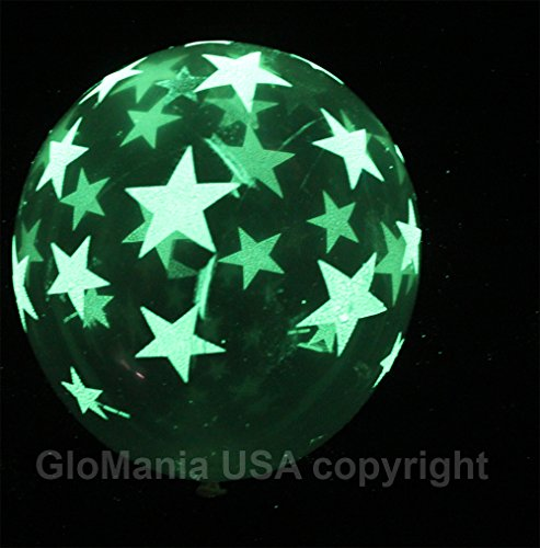 Glow in the Dark Balloons with Stars- 10ct (White Glow In The Dark Balloons)