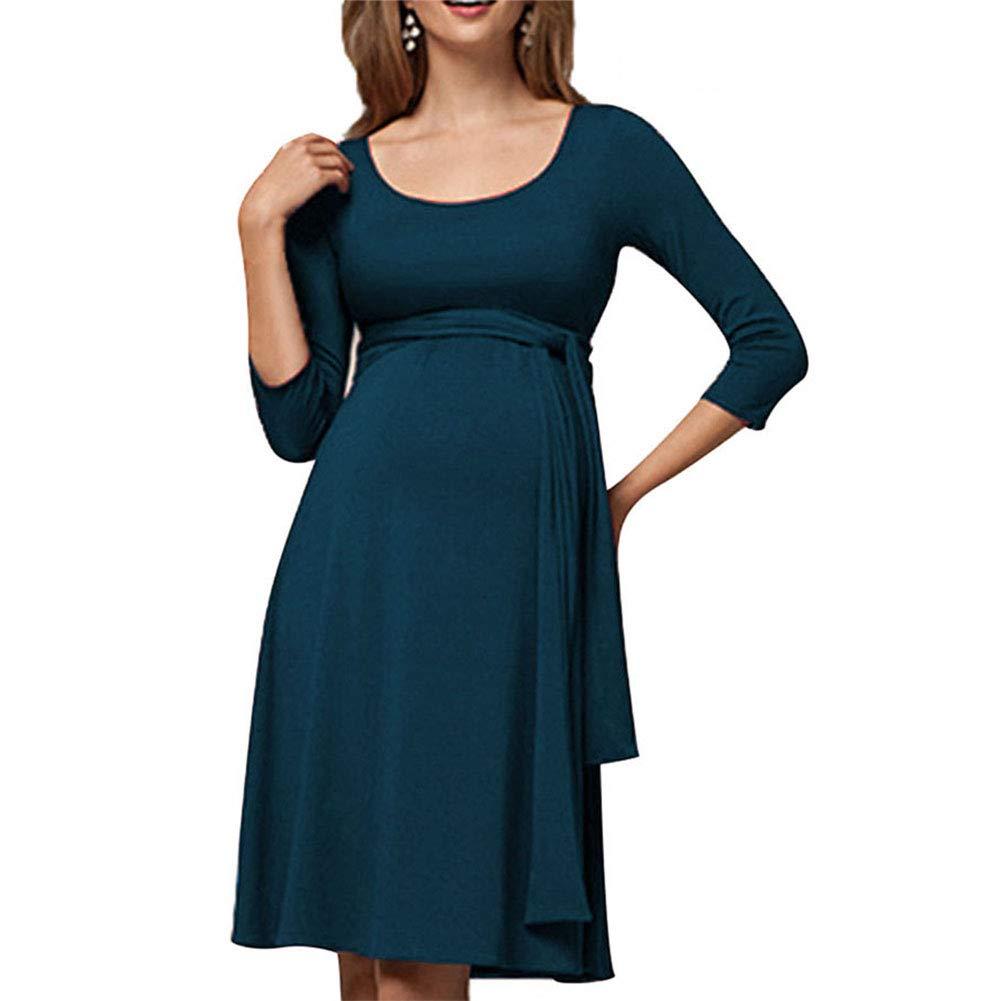 DSstyles Maternity Solid Color Round Neck Splicing Long Belt Breastfeeding Dress