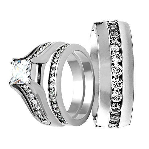 Over Stainless Steel Diamond Ring - Stainless Steel Princess Cubic Zirconia Wedding Engagement Ring & Eternity Band His Hers Bridal Sets TKJ